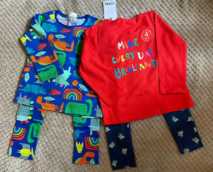 BNWT Next Baby Boys 2 Tops And 2 Leggings Set Outfit Bundle 12-18 Months