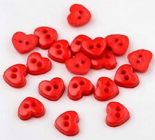 25 x 6mm Wide Tiny Heart Shape RED Colour Dolls / Craft Resin Buttons (B48)