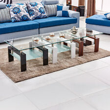 Modern Square Coffee Table With Shelf Clear Glass Corner Side Table Living Room