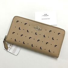 Coach * Accordion Zip Around Perf Leather Wallet in Beechwood Beige COD PayPal
