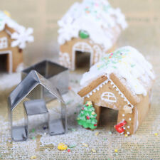 3Pcs Christmas Gingerbread House Cookie Cutter Baking Stainless Steel Mold