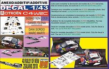 ANEXO DECAL 1/43 CITROEN C4 WRC LOEB & SORDO R.NEW ZEALAND 2010 3rd & 5th (01)