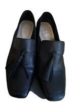 M & S Womens block heel Tassel Front Leather shoes U.K. Size 6.5 Black Gt Cond