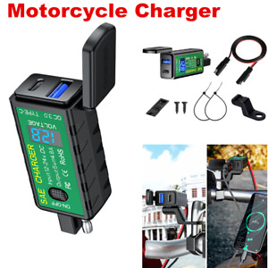 12V Waterproof Motorcycle USB/Type-C Dual Port Charger Socket LED SAE Adapter