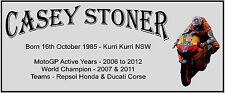 CASEY STONER MOTO GP SUBLIMATED SILVER METAL PLAQUE 4 FRAMING