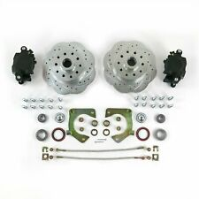 """MUSTANG II 2 FRONT DISC BRAKE KIT + 11"""" PLAIN FORD ROTORS NO SPINDLES + SS LINES"""