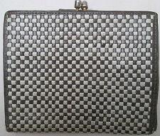 -AUTHENTIQUE portefeuille  cuir tressé  TBEG vintage 70's