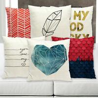 Simple Geometric Letter Cotton Linen Pillow Case Sofa Cushion Cover Home Decor