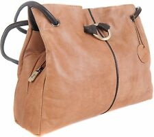 Gigi Othello Honey / Dark Brown Soft Leather 3 Section Shoulder Handbag - 4323