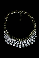 BaubleBar Crystal Sparkle Pheasant Bib Necklace NWOT $48 Elegant Bridal