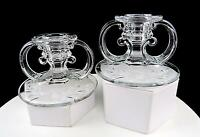 "LE SMITH GLASS 2 BEAUMONT #408 SCROLL ETCHED FLORAL 2 3/4"" CANDLESTICKS 1950's"
