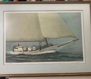 "John M Barber Lithograph Art Print Signed & Numbered Framed 20x29"" Nautical Boat"