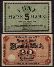 [16445]  - 2 x Notgeld NEUSALZ (heute: Nowa Sol), Stadt, 5 + 20 Mark, -01.02.192