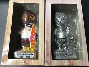 PAIR OF 2003 HOOTERS 20TH ANNIVERSARY BOBBLE HEAD OWL STATUES (BUY 3 GET 1 FREE)