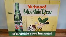 (L@@K) MOUNTAIN DEW SODA HILL BILLY GUY WITH BOTTLE TIN SIGN GAME ROOM MAN CAVE