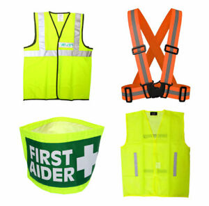 Hi-Vis Safety Vest Jackets - First Aid Aid Waistcoat Arm Band Tabard