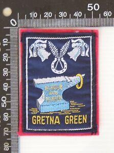VINTAGE GRETNA GREEN UK EMBROIDERED SOUVENIR FELT PATCH WOVEN CLOTH SEW-ON BADGE