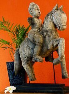 Statue Horse Rider Antique Figurine Teak Wood Old Handgefertigt Carved Art Work