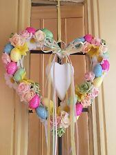 Pasqua PORTA GHIRLANDA DECORAZIONE DA APPENDERE IN VIMINI CUORE Shimmer uova fiori rosa