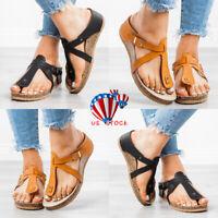 Women Summer Flip Flop Platform Leather Sandals Slipper Casual Beach Thong Shoes