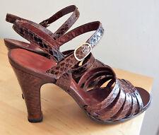 Escarpins Vintage Sandales Cuir et Peau de reptile P.37 LUXE UNIC FENESTRIER