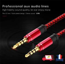 Cable auxiliaire Jack Audio stéréo mâle 3,5mm 4 pôles 3 anneaux (Micro + Casque)