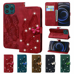 Bling Glitter Butterfly Leather Flip Case Cover For iPhone 13 Pro Max 13 Mini