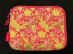 "EUC Lilly Pulitzer Flamingo Pink Neoprene e-Reader Sleeve GIFT 8"" x 10"" x 1"""