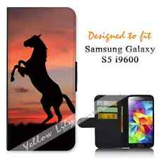 For Samsung Galaxy S5 i9600 Wallet Flip Phone Case Cover Horse Sunset Y00323