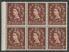 SB.79a 1961 2d Light Red-Brown Booklet pane of 6 with selvedge, Wmk Inv, U/M