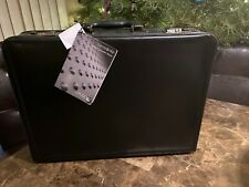 """BRAND NEW SAMSONITE LEATHER BLACK EXPANDABLE BRIEFCASE FITS 17.3"""" LAPTOP Read"""
