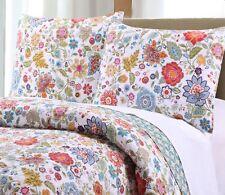 Floral Quilt Set King Size 3 Pc Multi Color & White 100 % Cotton Reversible
