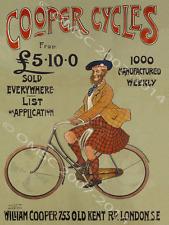 Cooper Bicycle Metal Sign, Retro Scot in Highlander Kilt on Bike, Garage Decor