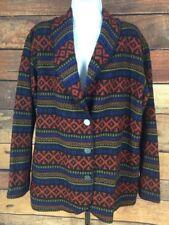 Nanook~L~Wool Geometric Southwest Sweater Blazer Jacket Pewter Button Shawl Neck