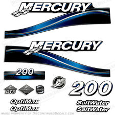 2005 Blue Mercury 200hp Saltwater Optimax Outboard Engine Decals Reproductions