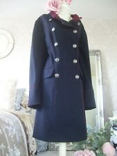 Monsoon size 22 Navy Burgundy New Tags wool Blend Military style Coat