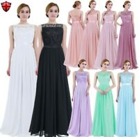 UK Womens Chiffon Formal Ball Gown Wedding Bridesmaid Dress Long Evening Dresses