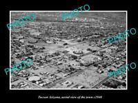 OLD POSTCARD SIZE PHOTO TUCSON ARIZONA AERIAL VIEW OF THE TOWN c1940