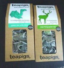 2Tea Pigs. Green Tea with mint [ 15 biodegradable tea temples] and 15 Mao feng.