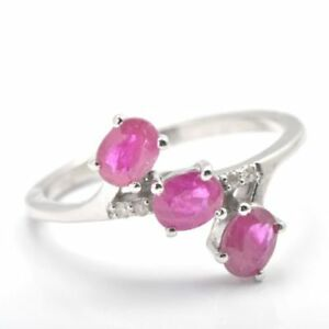 Oval Faceted Cut Pink Ruby Three-stone Ring 925 Sterling Silver Gemstone Jewelry