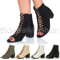 Womens medium heel ladies ghillie lace up peep toe shoe ankle boots sandals size