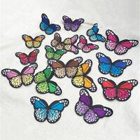 10x Bunt Schmetterling Stickerei Tuch Aufnäher Dekorieren Stickerei Aufnähe L0Z1