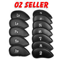 12 PCS PU Leather Head Cover Golf Iron Club Putter Headcover 3-SW Set Black AU