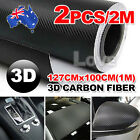 2X 1M OZ 3D Film Carbon Fiber Vinyl Wrap Sheet Roll Car Sticker Phone Laptop DIY