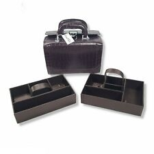 NWT Marshall Field Jewelry Box Makeup Train Case Brown Leather 2 Tier Travel Bag
