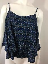 NEW Hollister Tiered Flowy Top M Cami Blue Print Adjustable Straps Womens