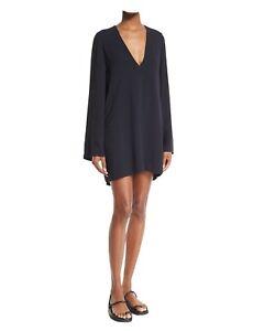 399$ New Helmut Lang Navy Blue/Black Deep V Neck Crepe Dress Tunic Cover Up