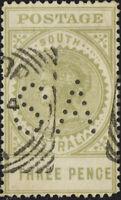 SOUTH AUSTRALIA - ca.1911 SG298d 3d yellow-olive (19mm) perfin SA - VFU
