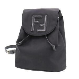 FENDI Logos Backpack Black Nylon Leather Vintage Authentic #XX877 S