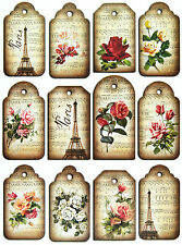 A/4 Scrapbook Paper Gift & Hang Single Sheet 12 Tags Eiffel Tower and Roses
